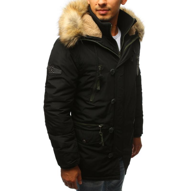 Pánska zimná parka bunda čierna  6f612ef0230