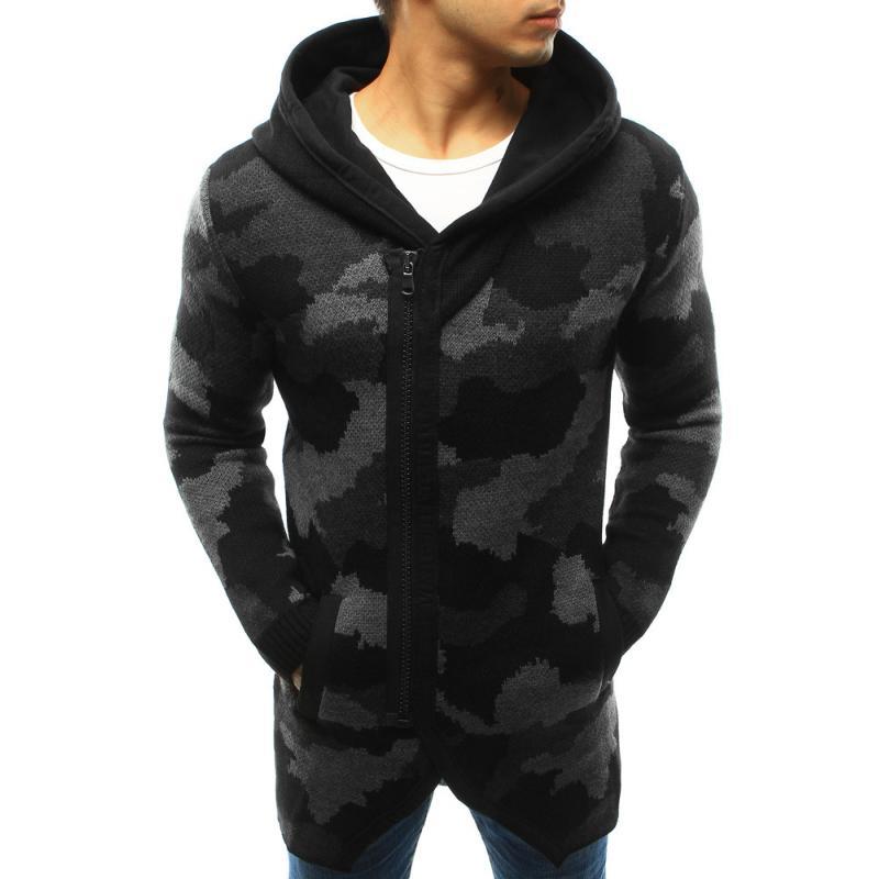 45bdedbef375 Pánsky sveter rozopínajúce s kapucňou maskáčový čierny