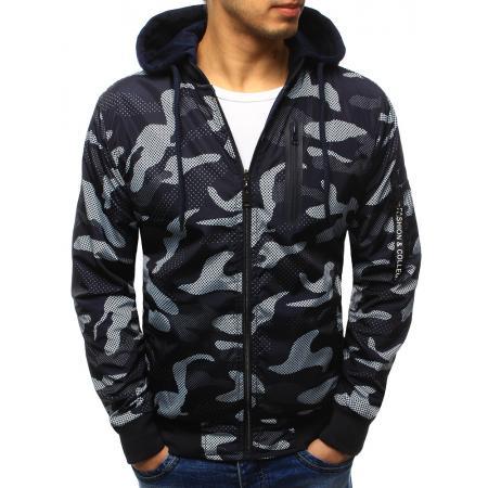 Pánska štýlová bunda obojstranná maskáčový vzor s kapucňou tmavě modrá