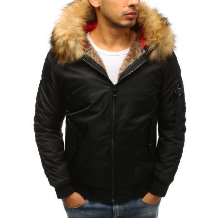 Pánska zimná bunda bomber jacket čierna