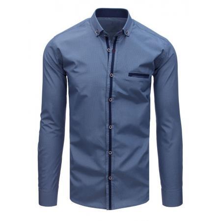 e802e5d0d6f9 Pánska MODERN košeľa mriežkovaná tmavo modrá