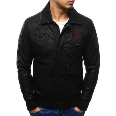 Pánska štýlová bunda pilotka koženka čierna 6d389c28e1b
