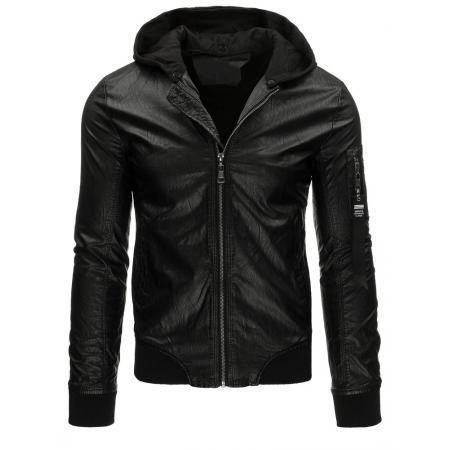 Pánska bunda kožená bomber čierna