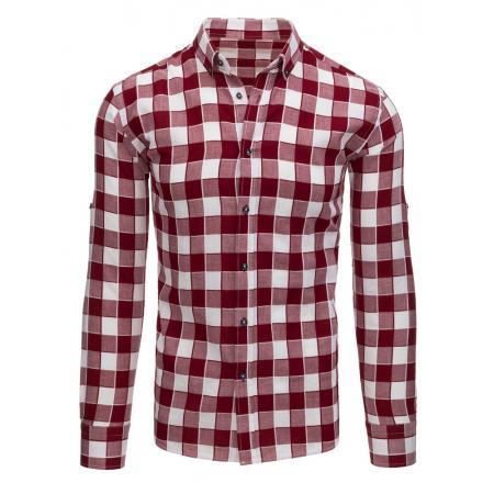 06104d4f6992 Bordó-biela pánska štýlová košeľa kockovaná
