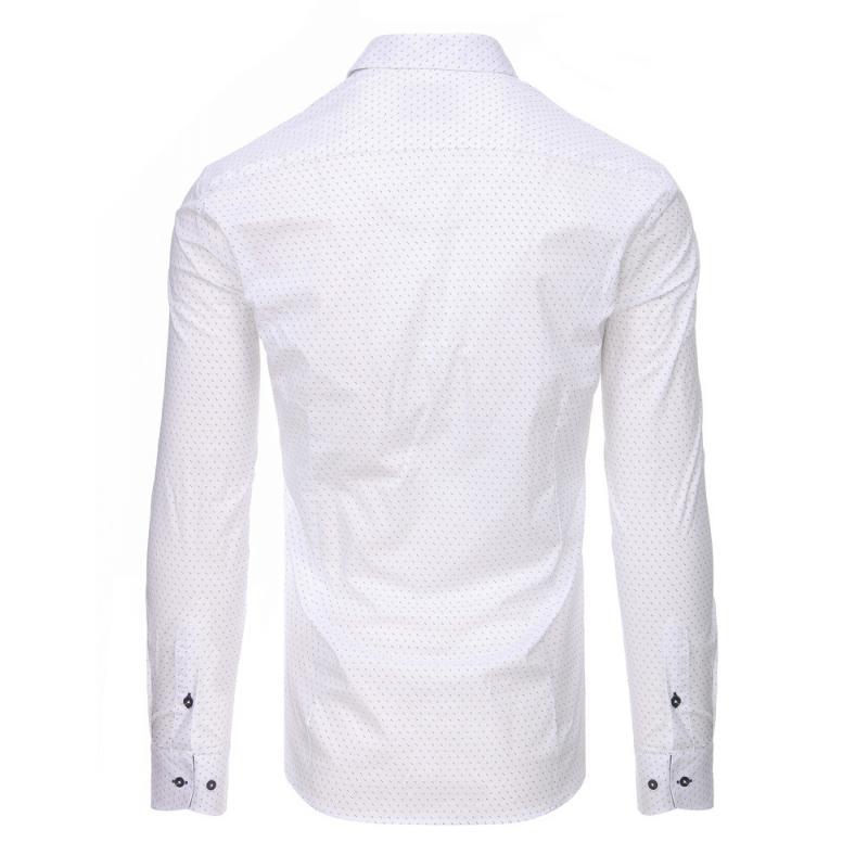 f5bead1b1a8b Biela pánska košeľa s vzorom a dlhým rukávom