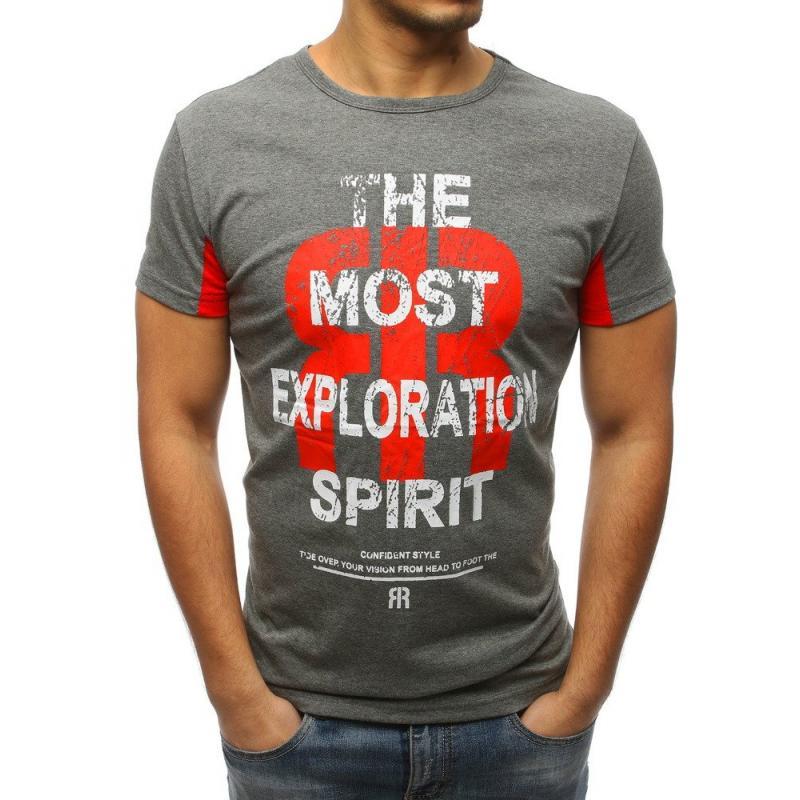 b77adbac68 Pánske štýlové tričko s potlačou antracit