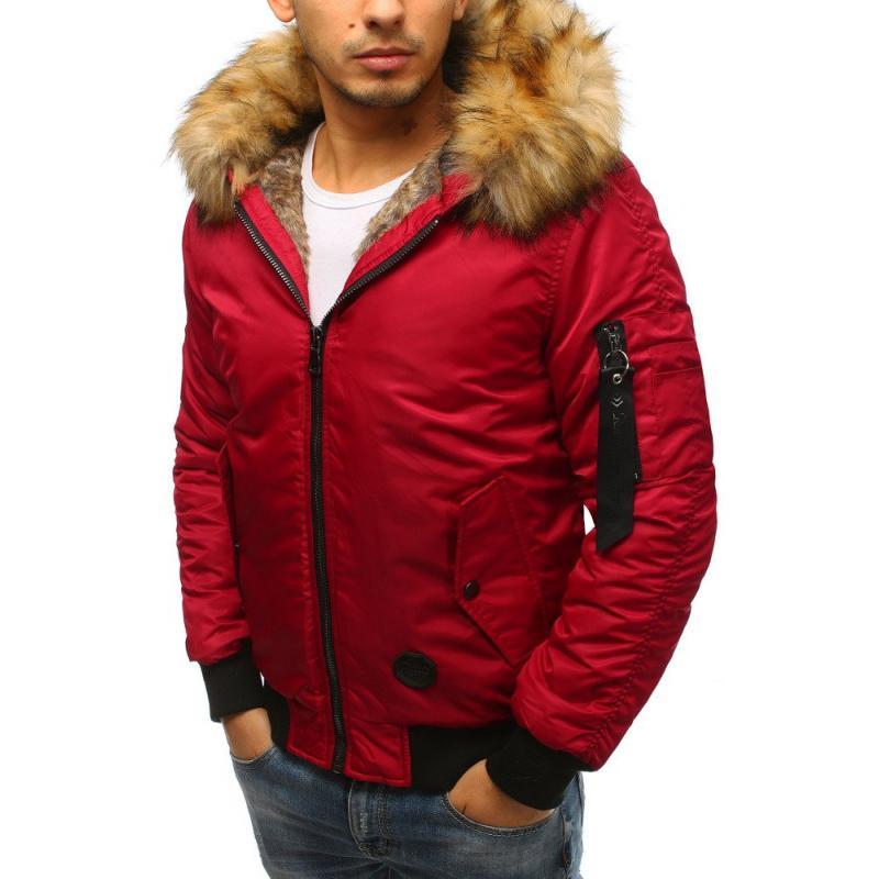 Pánska zimná bunda bomber jacket červená  868e0e83612