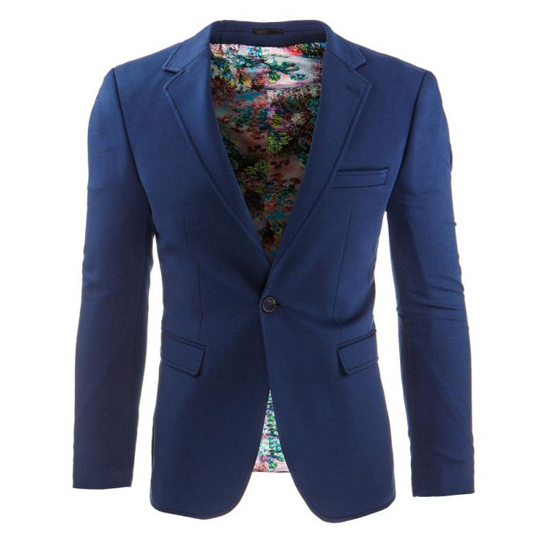 688fc5791a Štýlové pánske sako s moderným strihom tmavo modré   kvetované ...
