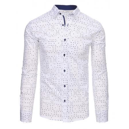 3de04e719122 Biela pánska košeľa s vzorom a dlhým rukávom