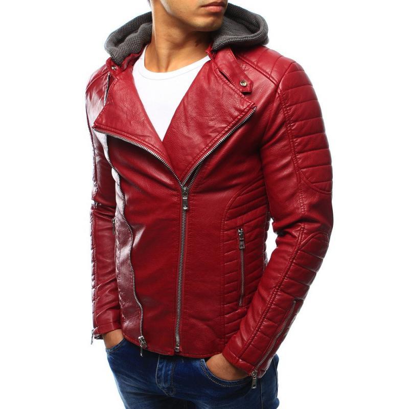 Pánska kožená bunda červená  7183aea68fc