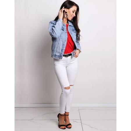Nohavice dámske jeansové KISS WHITE biele