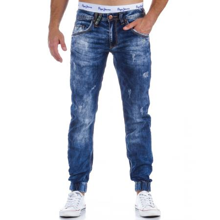 Pánske originálne jeansové nohavice modrej