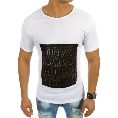 Pánská stylové tričko s nápisem bílé
