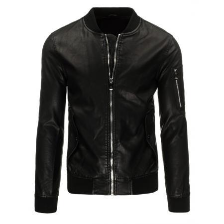 Pánska bunda koženka bomber čierna
