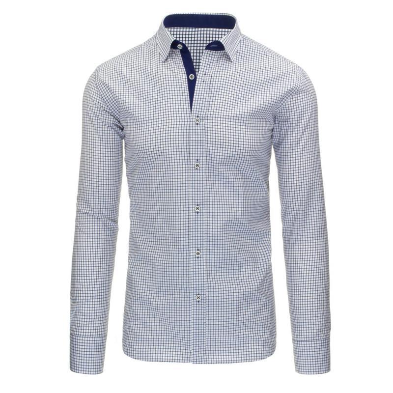 923189460d2d Biela pánska košeľa kockovaná