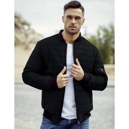 Pánska bunda prešívaná bomber jacket čierna