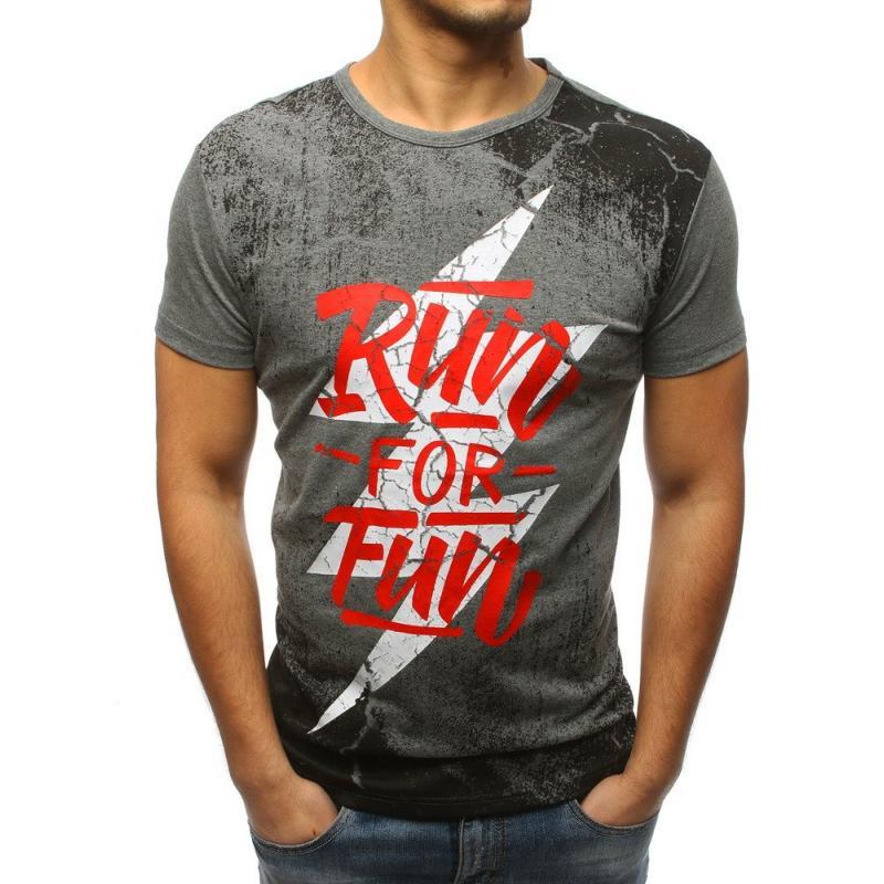 bf69f6240b Pánske štýlové tričko s potlačou šedej