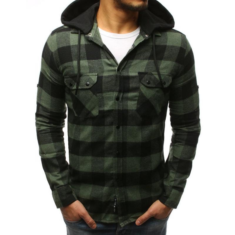 a4e905b04480 Pánska STYLE košeľa pruhovaná zeleno-čierna