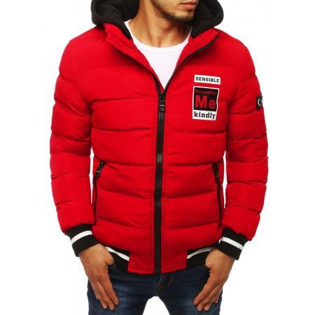 Pánska STYLE bunda bomber jacket vypchatá / prešívaná s kapucňou červená