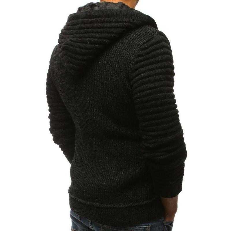 69020ade3472 Pánsky sveter rozopínajúce s kapucňou čierny STYLE