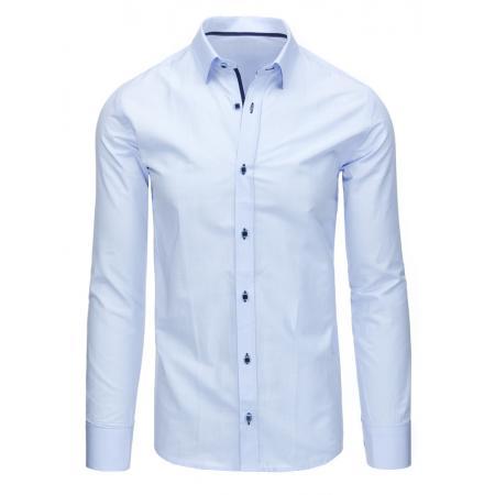 Svetlo modrá panská košele kockovaná s dlhým rukávom