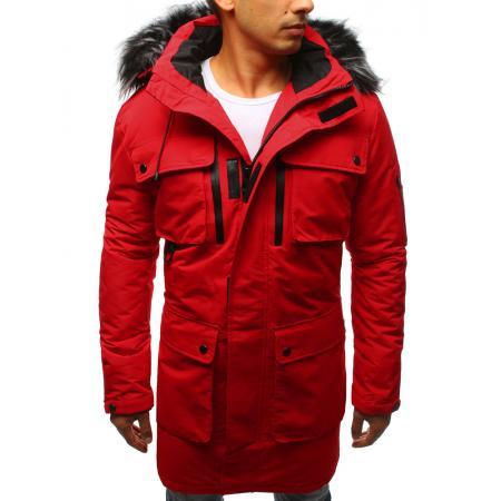 Pánska zimná park bunda červená