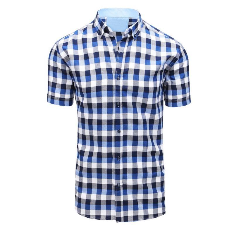 ae92ce3f5359 Pánska košeľa kockovaná s krátkym rukávom