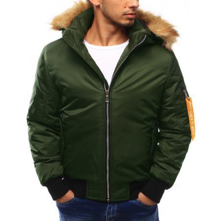 Pánska bunda zimná s kapucňou zelená