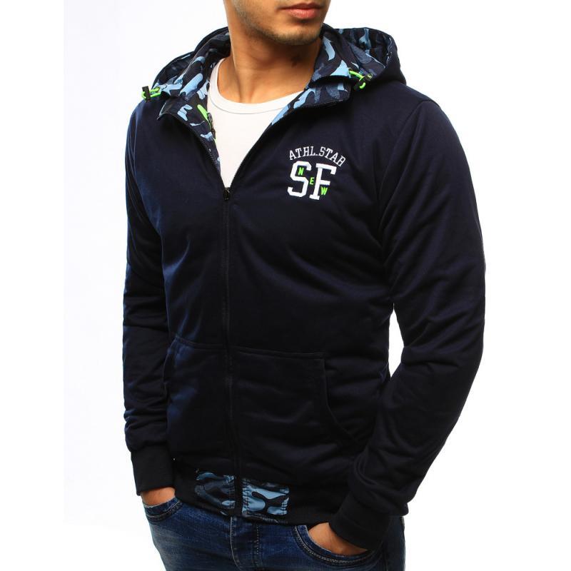Pánska štýlová bunda obojstranná maskáčový vzor s kapucňou svetle modrá cb1abe91b20