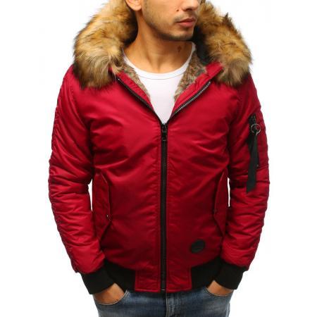 Pánska zimná bunda bomber jacket červená