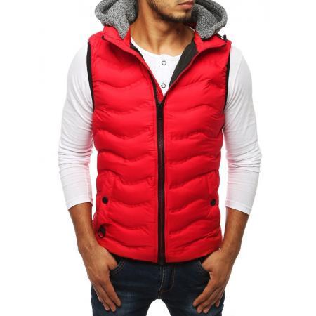Pánska prešívaná vesta s kapucňou červená