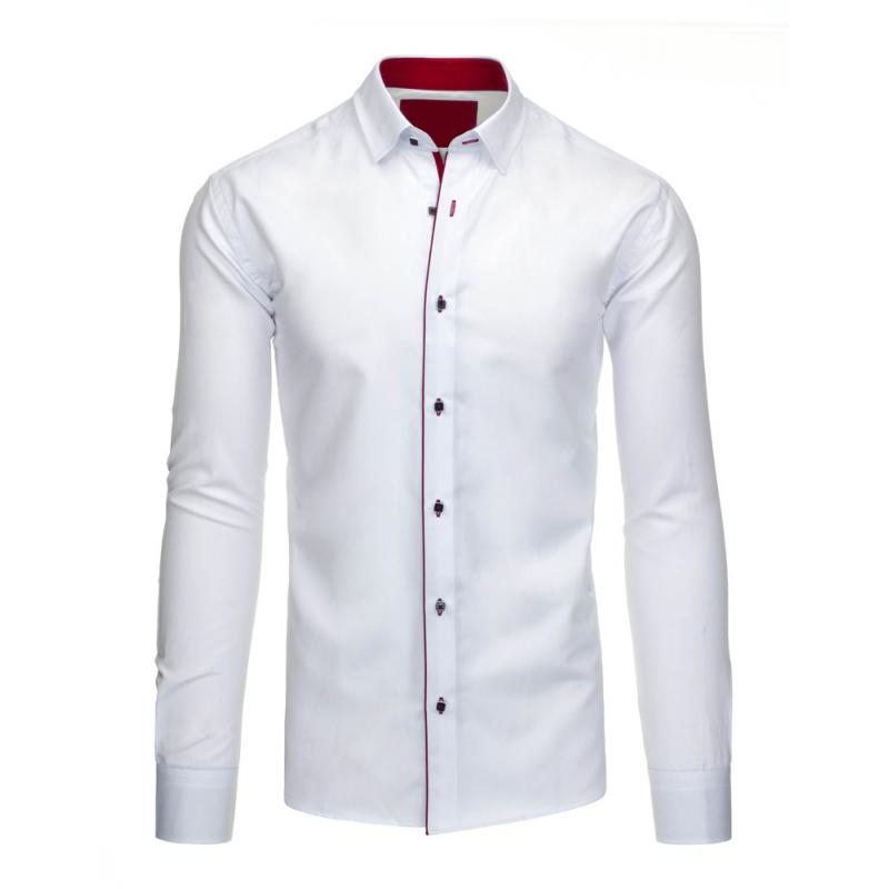 bf4abd840b7b Pánska štýlová košeľa biela s dlhým rukávom slim fit