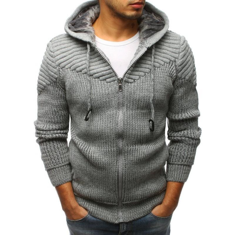 30fec0de393d Pánsky sveter rozopínajúce s kapucňou šedý STYLE