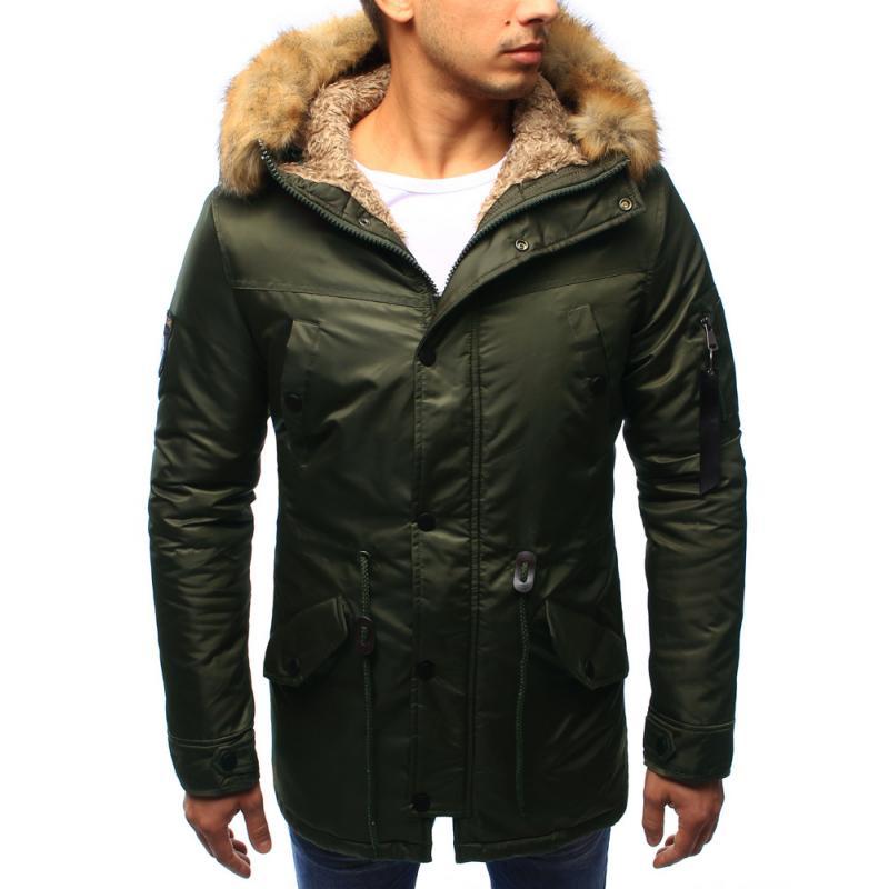Pánska bunda zimné s kapucňou khaki  e809922f47c