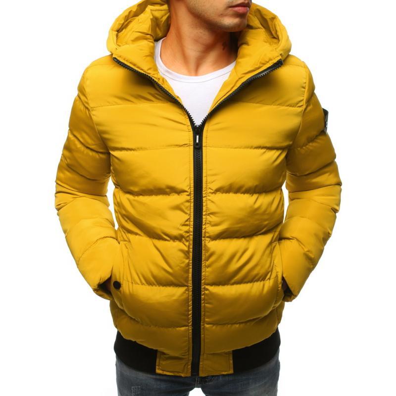 Pánska zimná bunda prešívaná žltá  604c7006d66