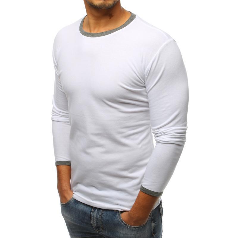 7d337b8c881e Pánske biele tričko s dlhým rukávom