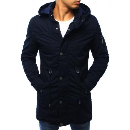 Tmavo modrá panská zimná bunda - parka