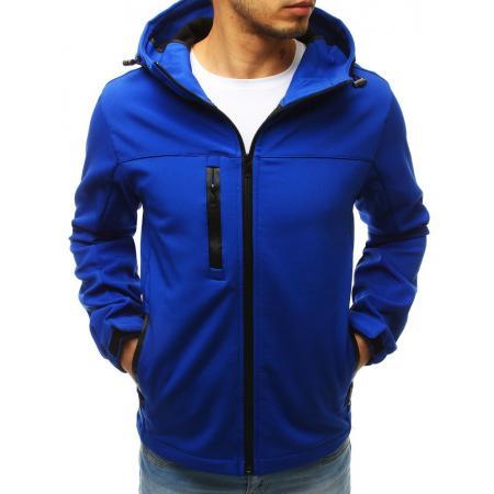 Pánska bunda softshell s kapucňou modrá