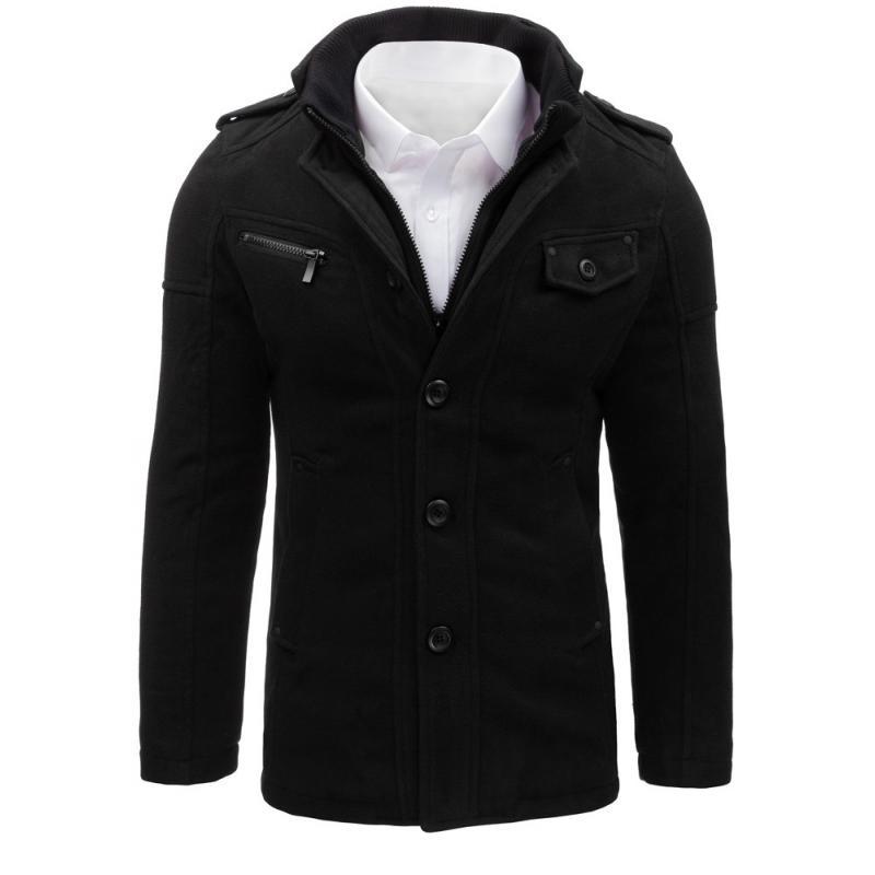 Pánsky štýlový čierny kabát  0c1fe1215a7