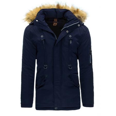Pánska štýlová zimná bunda (parka) modrá