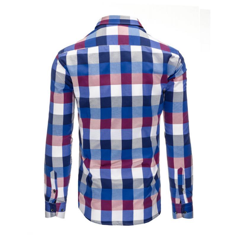 5ac9d000088a Modro-fialová pánska košeľa kockovaná