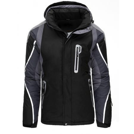 Pánska bunda zimné lyžiarska s kapucňou čierna