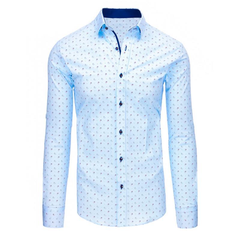40dbb0ecfe73 Svetlo modrá pánska košeľa s vzorom a dlhým rukávom