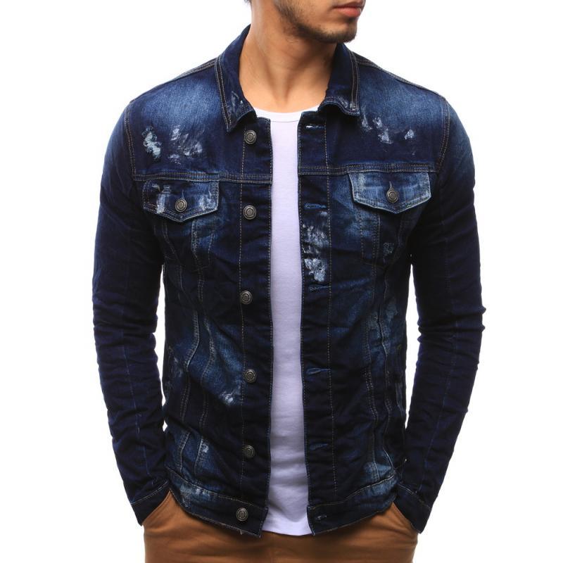 c2cde5db2 Pánska moderná bunda jeansová tmavo modrá | manSTYLE.sk