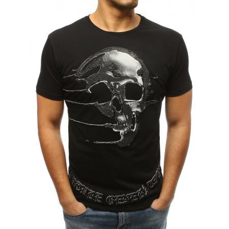 Pánske štýlové tričko s lebkou čierne 8095e8bfa15
