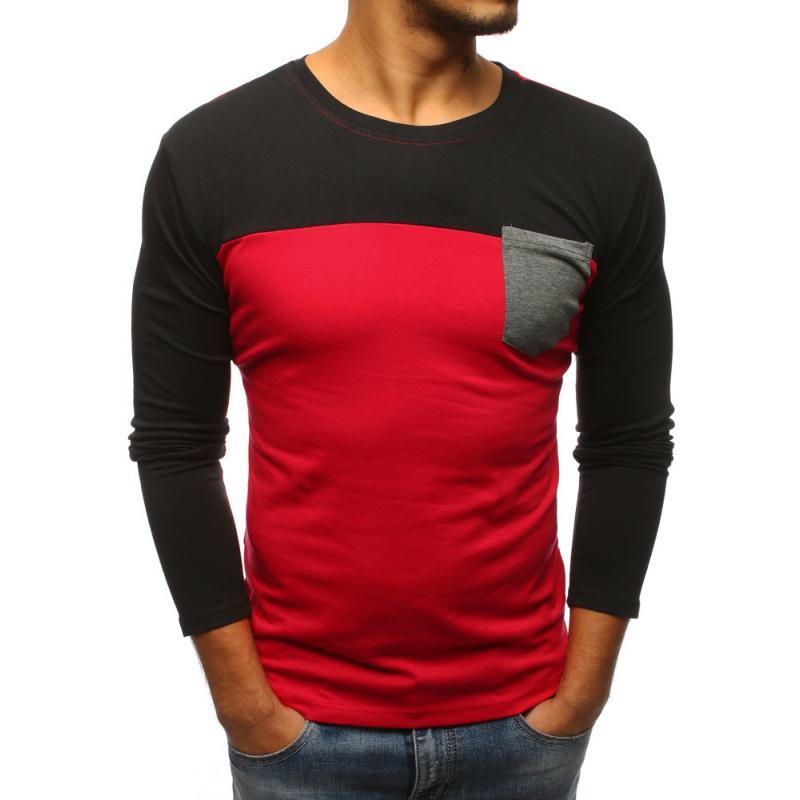 783f9753c8db Pánske červené tričko s dlhým rukávom
