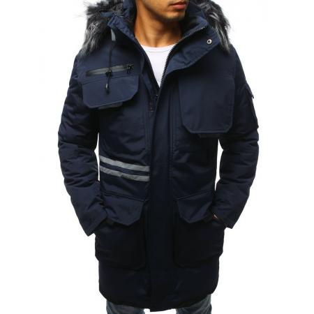 Pánska bunda zimná tmavo modrá