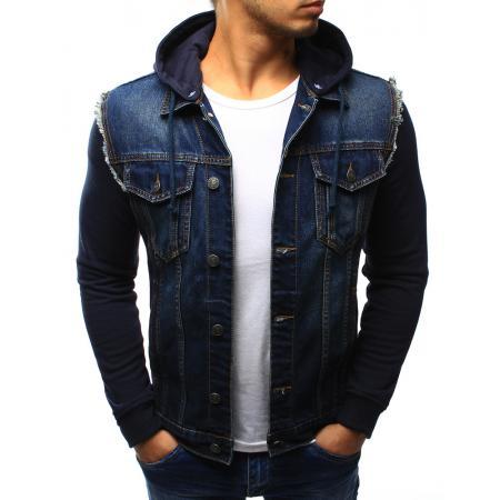 Pánska štýlová jeansová (džínsová) bunda s kapucňou bc266ce1c5c