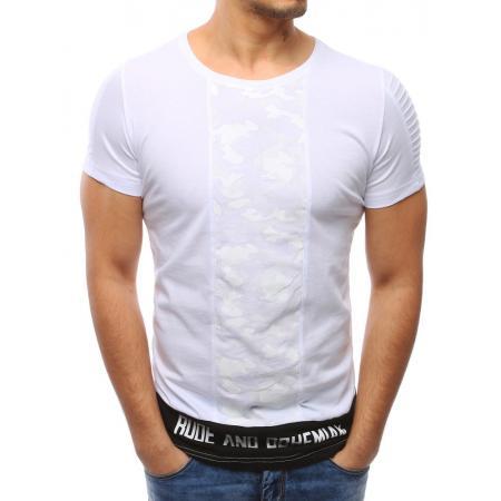Pánská bílé tričko s potlačou a okrúhlym výstrihom
