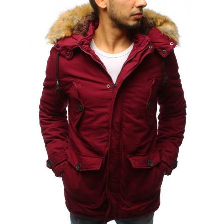 Pánska zimná bunda parka červená